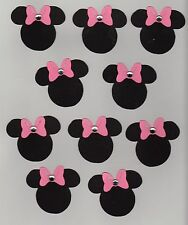 Minnie Mouse w/rhinestone on pink bow die cuts - 2 in. - 10 each Disney Mickey