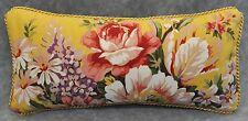 "Ralph Lauren Brooke Floral Yellow Cotton Custom Pillow 15"" x 7"" trim cording NEW"