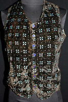 RARE FRENCH VICTORIAN-EDWARDIAN BROWN AND TURQUOISE BLUE SILK CUT VELVET VEST XS