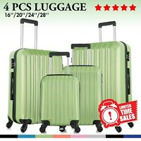"Set of 4 Luggage Set ABS Lightweight Travel Hard case Suitcase 16"" 20"" 24"" 28"""