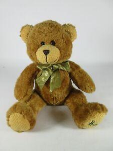 Harrods SittingTeddy Bear Green and Gold Scarf 23cm Good Clean Condition