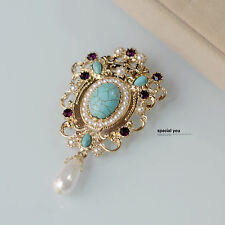 Brooch Golden Drop Pearl Turquoise Blue Filigree Royal Antique Class Retro XZ4
