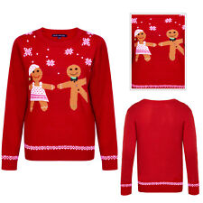 Heart And Soul Ladies Christmas Dancing Gingerbread Jumper 3D Embellished Top
