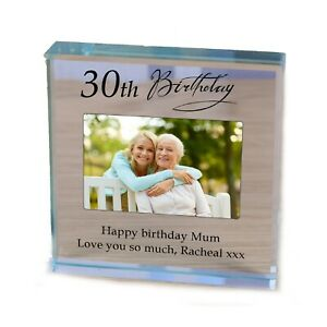Mum  Birthday personalised gift Glass photo Paperweight 30th 40th 50th 60th 70