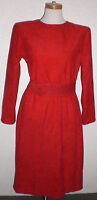 Vintage 1960s Scooter Mod Retro Red Suede Party Cocktail Long Sleeve Dress Belt