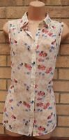 NEW LOOK CREAM WHITE PINK FLORAL BUTTERFLY SLEEVELESS T SHIRT BLOUSE TOP 10 S