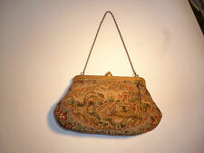 VINTAGE ANTIQUE HANDBAG PURSE TAPESTRY NEEDLEPOINT SMALL DELICATE VICTORIAN