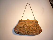 Vintage Antique Sac A Main Tapestry Needlepoint petit délicat Victorien