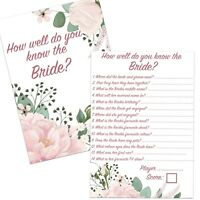 8,16,24,32 HOW WELL DO YOU KNOW THE BRIDE CARDS FLORAL HEN PARTY BRIDAL SHOWER