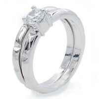 Bridal Fashion Double Ring 18K WGP Alloy Round Austrian Clear Crystal Size 7,8,9