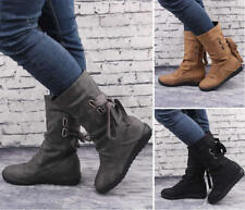 Women Flat Mid-Calf Boots Classic Martin Boots Winter Booties Shoes Plus Size 42