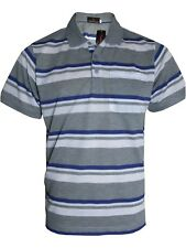 Men's Striped T-shirts Loose Fit Pique Polo Polycotton 1902 Tops Casual M to 5xl Grey 5xl