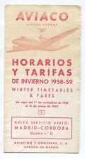 AVIACO TIMETABLE WINTER 1958/59 HORARIOS SPAIN