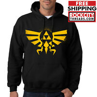 LEGEND of ZELDA HOODIE BLACK Triforce Logo Hoodie Hooded Sweatshirt Symbol Link