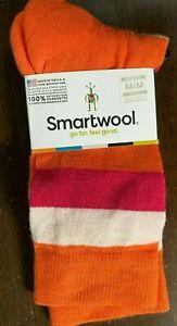 Smartwool Saturnsphere Merino Wool Crew Socks Orange & Pink Stripes Size Medium