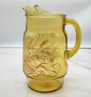Vintage 1970's MCM Libbey Golden Wheat 2 qt Pitcher Amber Colored Glass