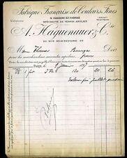 """PARIS (X°) USINE de COULEURS VERNIS & BRONZE en poudre """"A. HAGUENAUER"""" en 1897"""