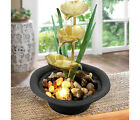 Lotus Indoor Fountain Water Feature Led Lights Polyresin Statues Home Decoration