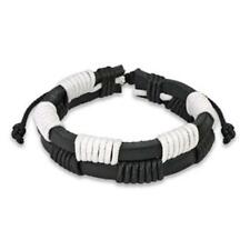 1 Leather Wrist Band Black White 190-250mm & Style Jewelry from Coolbody