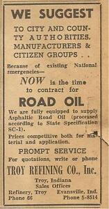 TROY REFINING CO. ROAD OIL AD PARK CITY DAILY NEWS (BOWLING GREEN, KY) 1951