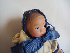 "Vintage Thin Hard Plastic Girl Doll 4.25"" Tall"