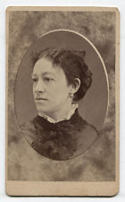 CDV WOMAN WITH HIGH COLLAR AND EARRING. WATKINS, N.Y.