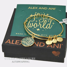 """Authentic Alex and Ani """"Joy To The World""""  Yellow Gold Expandable Charm Bangle"""