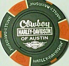 Harley Poker Chip  COWBOY HD   AUSTIN, TX    BLACK BACKGROUND