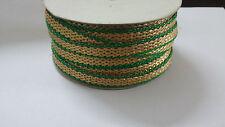0.25 Quarter INCH Fancy Green Golden Lace Saree Kurti Duppatta 9 mtr