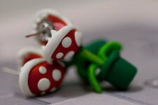 Earrings Pair Super Mario Piranha Plant Cute Stud Handmade Polymer Clay Flower
