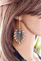 Women Elegant Turquoise Bohemian Leaf Shaped Hook Drop Dangle Earring Jewelry