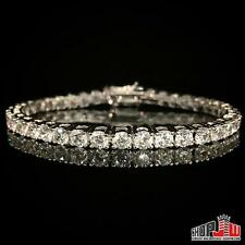 "Lab Simulated Diamond White Gold Plated 1 Row Tennis Bracelet Mens 7"" Prong Set"