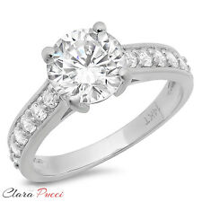 Round Cut Solitaire Engagement Wedding Ring Accent 2.27 CT Real 14k White Gold