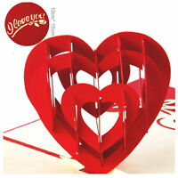 3D Pop Up Greeting Card Handmade Wedding Valentine Birthday Card - Romantic Love