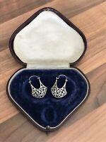 Beautiful Pair of Sterling Silver Ornate Drop Earrings 5.3gr