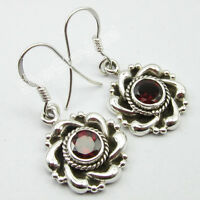 """High End OXIDIZED Jewelry, Natural GARNET Gem, 925 Solid Silver Earrings 1.3"""""""