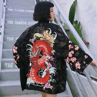 Lolita Harajuku Style Vintage Print Loose Summer Bathrobe Kimono Coat Tops