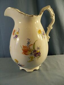 """Large Warwick China Pitcher w/ Multicolored Floral Design - 12"""" Tall"""