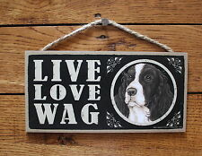 """Springer Spaniel Sign Live Love Wag Dog Wood Plaque 5""""x10""""  Made In USA"""