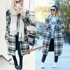 ZARA NEW CHECK MAXI DOUBLE BRESTED WOOL COAT SIZE M UK 10 12
