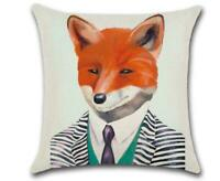 """FOX WITH TIE 🦊 Heavy Linen CUSHION COVER 🦊 18""""x18"""" (45cm) 🍁CANADIAN SELLER🍁"""