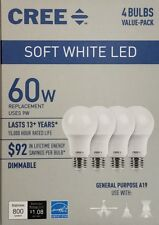 (8 Pack) CREE 60W Equivalent Soft White (2700K) A19 Dimmable LED Light Bulb