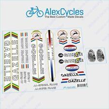 Gazelle Bicycle White Black Frame Restoration Decals Kit + Free Gift Stickers