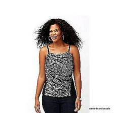 LANE BRYANT NEW Black Silver SEQUINED Tank Top Shirt Womens PLUS 18 2X SEXY