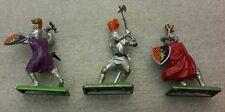 3 NEW Vintage BRITAINS DEETAIL Knights on Metal Base #7730b