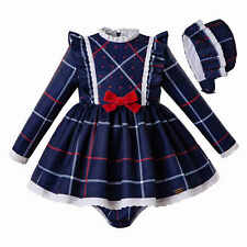 Spanish Christmas Baby Plaid Dress Frilly Tartan Pagean School Bonnet Shorts Set