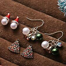 3Pairs Women Christmas Earrings Crystal Pearl Bell Hat Tree Ear Stud Dangle Xmas