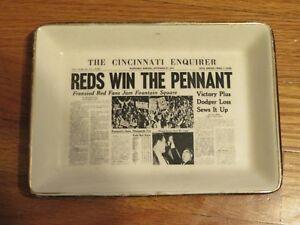 "Vintage 1961 CINCINNATI REDS World Series Champions Ceramic 7.5"" x 5.5"" ASHTRAY"