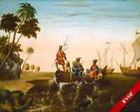 LANDING OF CHRISTOPHER COLUMBUS IN NEW WORLD PAINTING ART REAL CANVAS PRINT