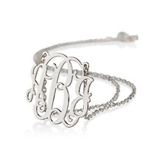 """Monogram necklace -Initial Necklace Personalized Monogram -1.25"""" Sterling Silver"""